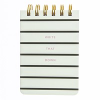 Write That Down Petite Journal in Black and White Stripes with Pink Edges