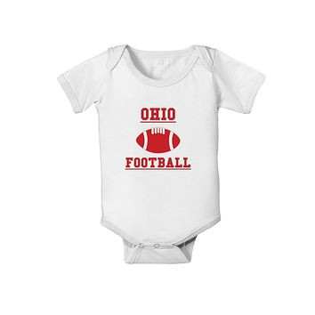 Ohio Football Baby Romper Bodysuit by TooLoud