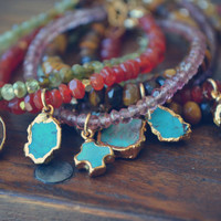 CANDY WRAPS ///  Handcrafted Gemstone Layering Bracelets /// 24kt Gold Electroformed Turquoise, Coffee Beans