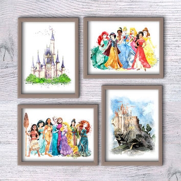 Disney princess watercolor print Set of 4 Disney princess wall decor Nursery room decor Wall hanging art Girls room art Kids room decor V201