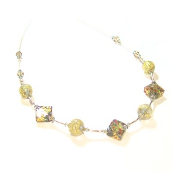 Murano Glass Colorful Diamond Gold Necklace