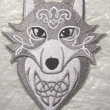Beautiful Celtic Wolf with Knotwork Machine Embroidered Iron on Applique - Choose your size
