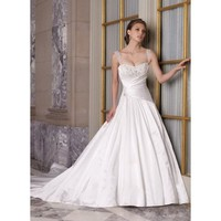 Ball Gown Sweetheart Beaded Applique Satin Net Bridal Dress  - Star Bridal Apparel