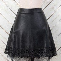 Altar'd State Lucky Leather and Lace Skirt | Altar'd State