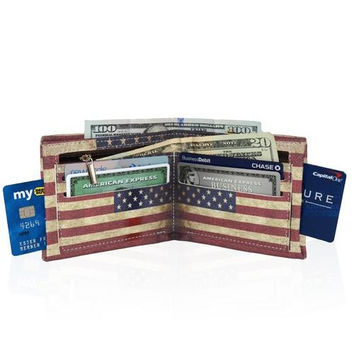 Rustic Flag USA Style Men's Billfold Wallet