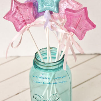 Set of 6 Handmade Magic Wands Lollipop SOAP  Pops Spa Favors Girls Day Favors Princess Party Favors