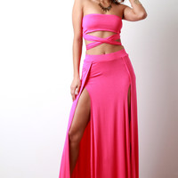Casual High Waisted Deep Slit Maxi Skirt