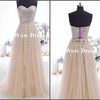 Long Prom Dress/ Sequined Tulle Prom Dress/ Lace Up/ A-line Prom Dress/ Sleeveless Dress