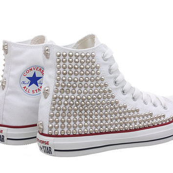 Studded Converse, White Converse with Silver Tiny Cone Studs(One Side Studded) by CUSTOMDUO