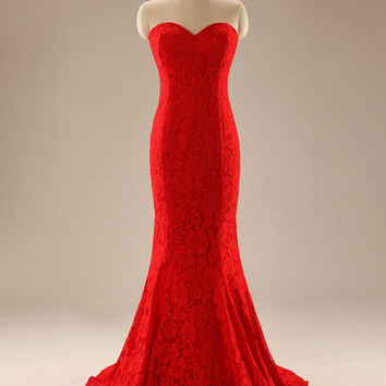 Graceful Upscale Red Prom Dress Sexy Mermaid Evening Gown Sweetheart Backless Custom