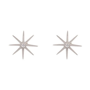 Large Sunburst Earrings with Diamond