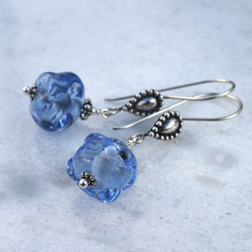 Dangle Ice Blue Glass and Sterling Silver Earrings, Lampwork Jewelry,  Blue Glass, Long Dangle, Handmade, Glass Jewelry, Lampwork Beads,