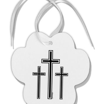 Three Cross Design - Easter Paw Print Shaped Ornament by TooLoud