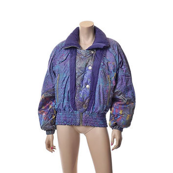 Vintage 80s Kaelin Iridescent Purple Ski Jacket 1980s Abstract Holographic Mod New Wave Snowboard Parka Puffer Coat  / size 8