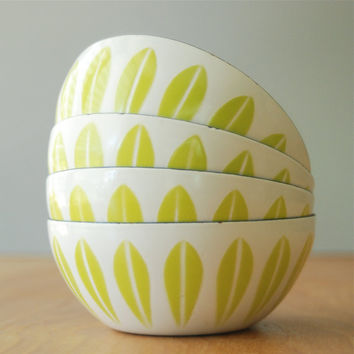 """EXCELLENT Lime Green Cathrineholm 4"""" Lotus Bowl"""