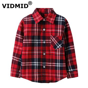 Boys shirts for Girls Plaid child Shirts kids school Blouse red tops clothes Kids Children plaid