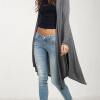 Flowy Back Thin Cardgian - Grey