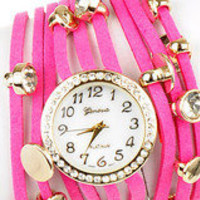Hot Pink Leather Wrap Watch ? Modeets
