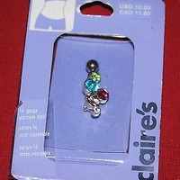 NEW CLAIRE'S 14 GAUGE STAINLESS STEEL BELLY RING FASHION JEWELRY NAVEL PIERCINGS