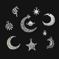 New DIY Fashion Craft Accessories Jewelry Findings Metal Vintage Antique Silver Plated Charms Pendant for Handmade