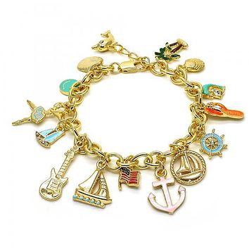 Gold Layered 03.179.0034.08 Charm Bracelet, Anchor and Guitar Design, with White Crystal, Multicolor Enamel Finish, Golden Tone