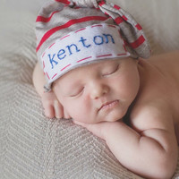 Baby hat- stripe jersey w/ hand embroidered name- newborn- baby boy