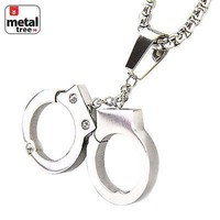 "Jewelry Kay style Hip Hop Men's Stainless Steel Handcuff Pendant 24"" 3 mm Box Necklace SCP 121 S"