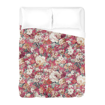 Red Flowers Duvet Cover