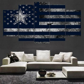 5 Pcs Sport Dallas Cowboys Poster Canvas Paintings Wall Art Oil Painting On Canvas For Living Room Unframed And With Frame