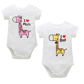 Summer Babys Clothes Newborn Infant Baby Boy Girl Cartoon Giraffe Letter Printed Short Sleeve Jumpsuit Romper Baby Romper JY02#F