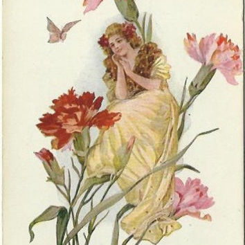 Miniature Victorian Woman sitting on Pink and Red Carnations Watching in Adoration a Butterfly Early 1900's Vintage Postcard