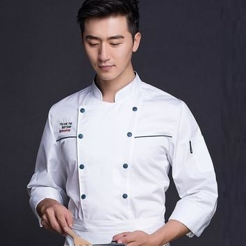 1pc Hotel chief wear long sleeved master uniform pastry chef restaurant white kitchen work clothes plus size embroidery logo
