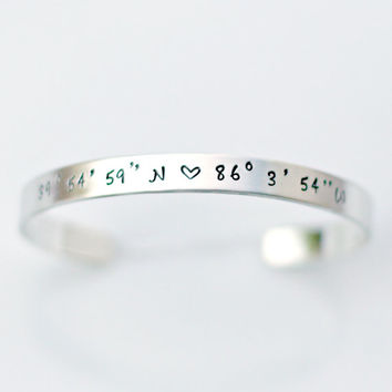 Coordinate Bracelet - Location Jewelry - Silver Bracelet -  Latitude Longitude - Going Away Gift - Graduation Gift