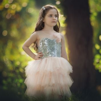 "The ""Felicity"" Sequin Flower Tutu Tea Length Dress"
