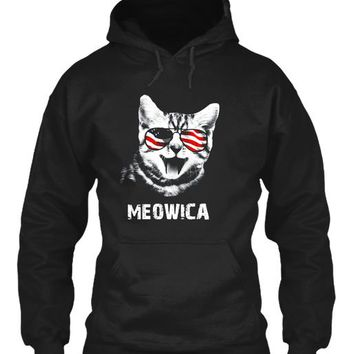 Meowica Usa American Flag Cat T Shirt Funny 4th Of July Gift