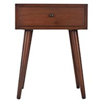 End Table Mid-Century Single Drawer Wood Side Accent Table - 17.75 in Wide x 23.5 in High x 13.75 in Deep