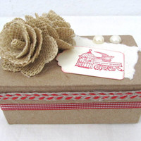 Rustic Keepsake Box - Decorative Kraft Box - Red Accents - Gift Box - Holiday Gift Box - Live Your Dreams - Rustic Style - Burlap Flowers