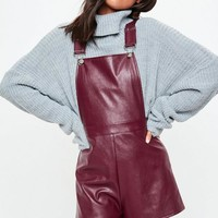 Missguided - Burgundy Faux Leather Pinafore Romper