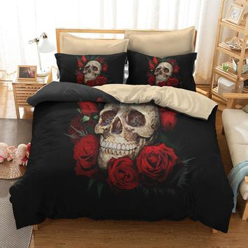 Fanaijia Rose flower skull Bedding Set for King Size Bed 3D sugar skull duvet cover with pillowcase AU Queen Bed bedline