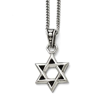 Men's Stainless Steel Polished and Antiqued Star of David Necklace