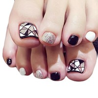 24 pcs ToeNail Stickers Nail Art Decor & Nail Glue