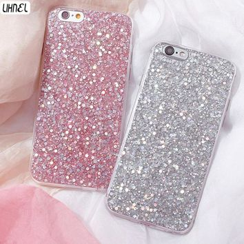 LIHNEL Bling Glitter Rubber Soft TPU Glossy Clear Frame Phone Cover Shell For iPhone 5 5S SE 6 6S Plus 7 7 Plus 8 8Plus X Cases