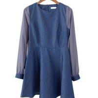 Round Neckline Denim Dress with Chiffon Sleeves Details