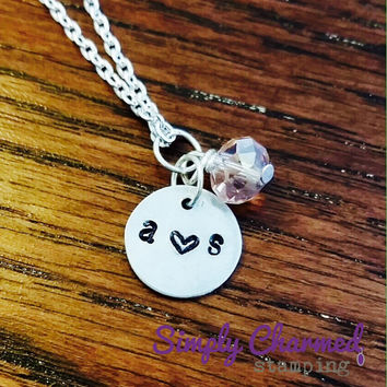 Initial Love-Couples Hand Stamped Key Chain/Necklace