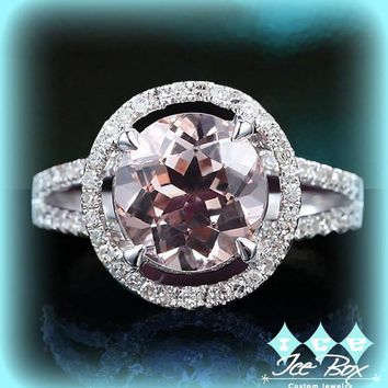 Morganite Engagement Ring 8mm Round in a 14K White Gold Split Shank Diamond Halo Setting