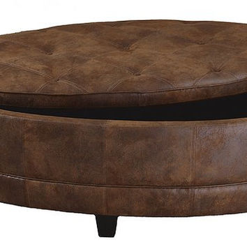 Uttermost Gideon Oval Leather Storage Bench - 23019