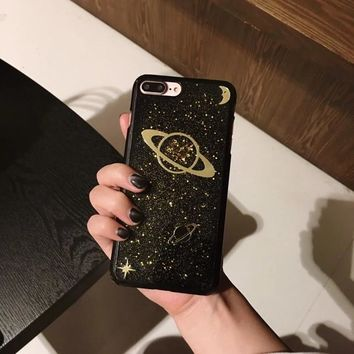HOT Universe Saturn Gold Glitter Phone Case For iPhone 7 and  7Plus