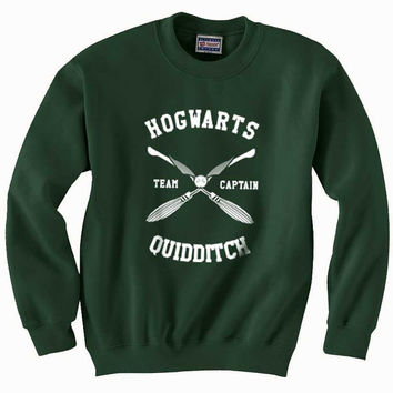 Hogwarts Quidditch team Captain WHITE print on Forest green Crew neck Sweatshirt