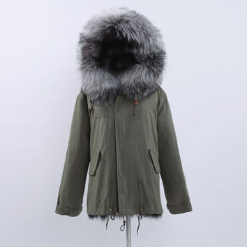 Full Fox Fur Reversible Jacket Silver