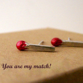 You are my Match Sterling Silver Stud Earrings by Nafsika on Etsy